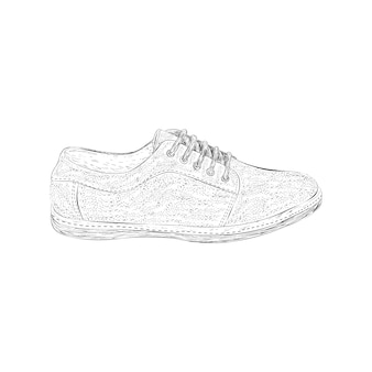 Sneakers shoe illustration in hand drawn vector