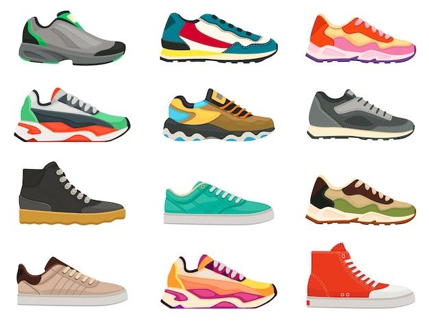 スニーカーシューズ。スポーツ、ランニング、トレーニング用のフィットネスシューズ。カラフルでモダンな靴のデザイン。スニーカー側面図漫画アイコンベクトルセット。カジュアルなライフスタイルのための明るく巨大な履物