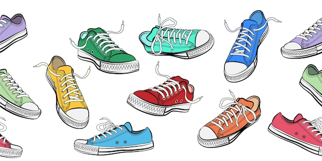 Sneakers shoes horizontal seamless pattern.