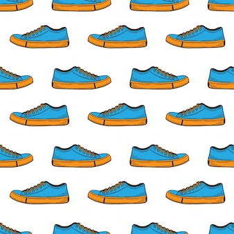Sneakers shoes seamless pattern