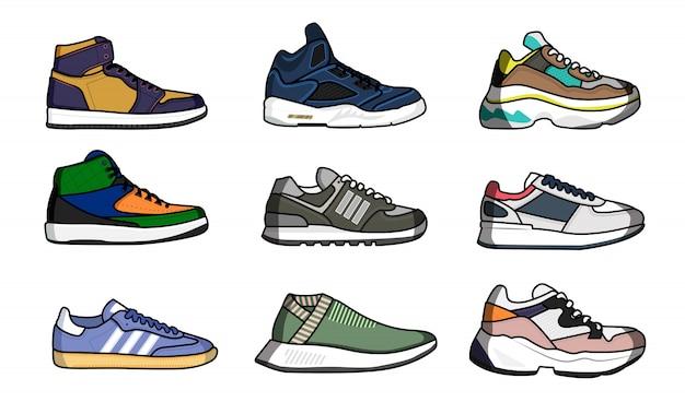 スニーカーの靴セット。孤立した男スニーカー靴靴紐コレクション。スポーツシューズファッションデザインベクトルイラスト