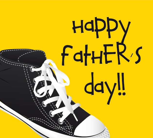 Sneakers over yellow background fathers day