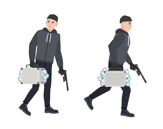 Красться вор, грабитель или грабитель держит пистолет и чемодан с украденными деньгами.