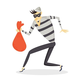 A sneaking thief with a bag of stolen goods. a criminal in striped clothing and a mask. cartoon vector character