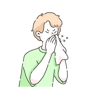 くしゃみをする男の子のイラスト