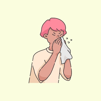 Sneezing boy sick people cartoon illustration concept
