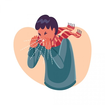 Sneezing person - flat character illustration
