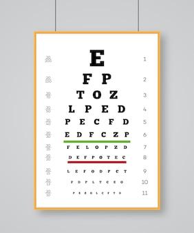 Проверка зрения по таблице снеллена для проверки людей на качество зрения. плакат для вектора экзамена по зрению.