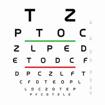 Таблица шаблона диаграммы снеллена с буквами для алфавита теста офтальмолога для измерения визуальной