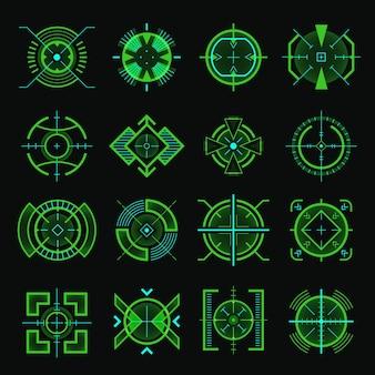 Снайперская цель. шаблон пользовательского интерфейса оптического оружия футуристические военные пушки спутниковое прицеливание. а