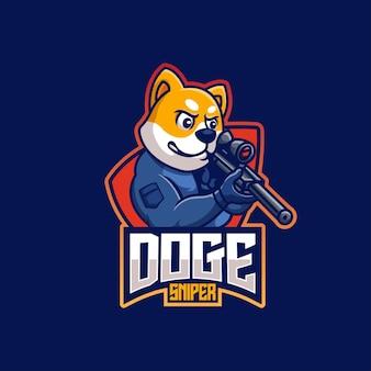 Снайпер дож креативный спортивный талисман дизайн логотипа