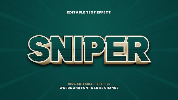 Sniper editable text effect in modern 3d style