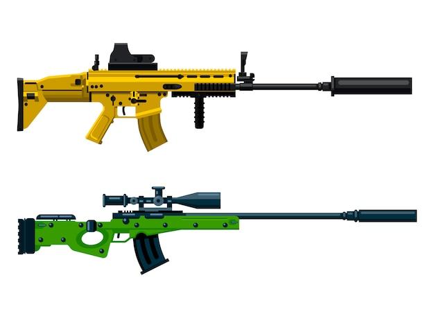 Sniper gun and assault rifle