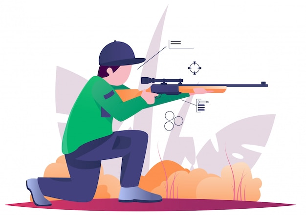 Sniper hunting on forest flat illustration