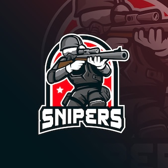 Sniper  mascot logo  with modern illustration  style for badge, emblem and tshirt printing.
