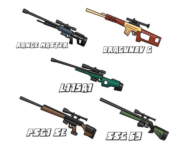 スナイパーリッフル武器セット漫画のデザイン