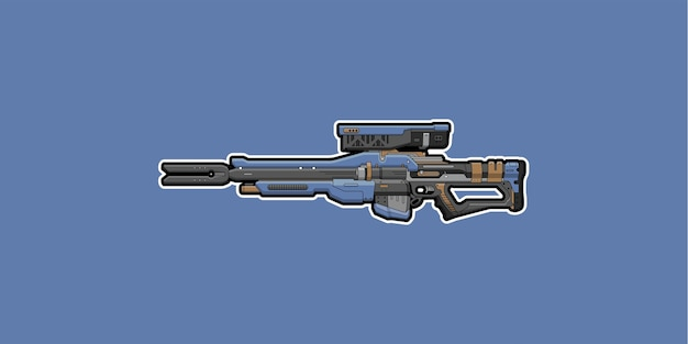Sniper rifle isolated on blue