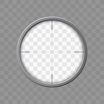 スナイパーライフルのスコープ。武器の狙い。光学ガラスのテンプレート。ターゲットコンセプト、イラスト