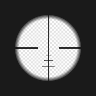 Sniper sight with measurement marks. rifler scope template on transparent background Premium Vector