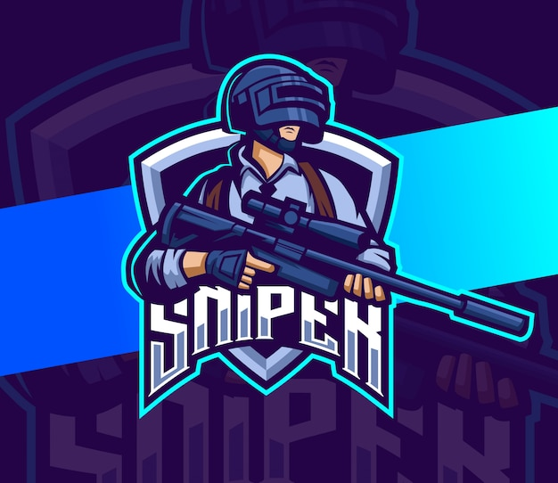 Sniper with gun mascot esport logo gaming