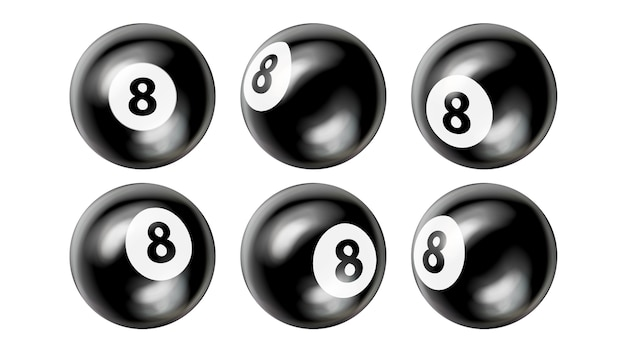 Snooker billiard balls number eight set