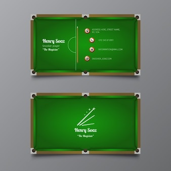 Snooker business card