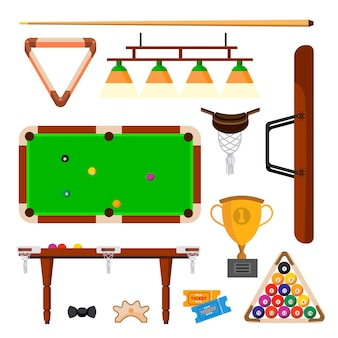 Snooker icons set