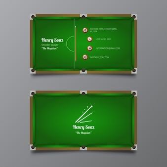 Шаблон визитной карточки snooker