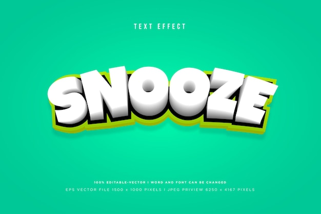 Snooze 3d text effect template