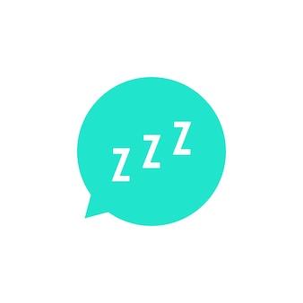 緑の吹き出しのいびきサイン。睡眠、不眠症、目覚まし時計アプリ、深い睡眠、目覚めの概念。白い背景で隔離。フラットスタイルトレンドモダンなロゴタイプデザインベクトルイラスト