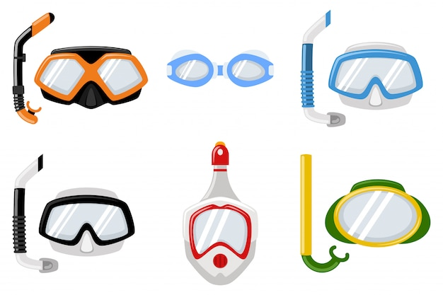 Snorkel masks for diving and swimming of different types.  cartoon flat icons set isolated on white background.
