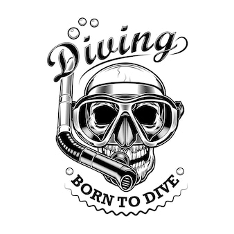 シュノーケラーの頭蓋骨のベクトル図です。テキストをダイビングするために生まれた、マスクとチューブを備えたスケルトンの頭。ダイビングクラブのエンブレムのための海辺の活動の概念