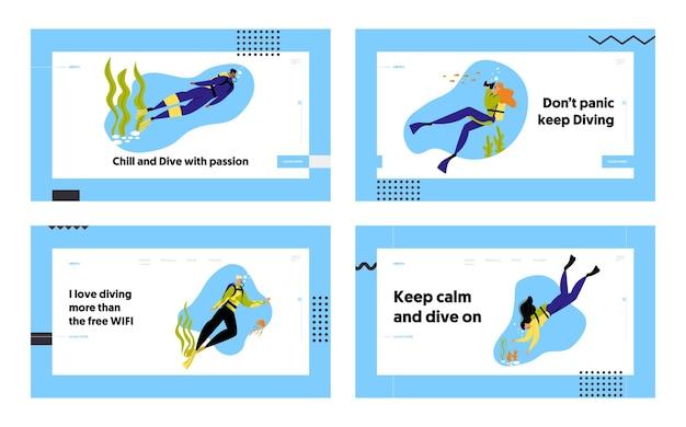 シュノーケリングキャラクター水中楽しいアクティビティウェブサイトランディングページセット