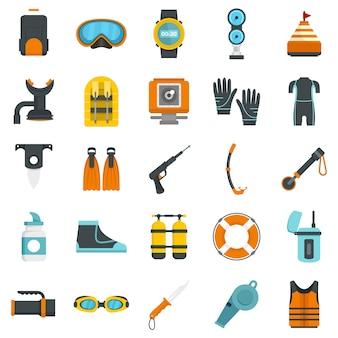 Snorkeling equipment icon set
