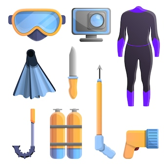 Snorkeling equipment icons set, cartoon style