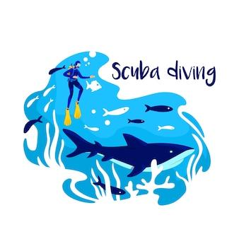 海でのシュノーケリング2dwebバナー、ポスター。熱帯魚。スキューバダイビングのフレーズ。漫画の背景にフラットなキャラクターをダイバーします。海洋生態系の印刷可能なパッチ、カラフルなウェブ要素