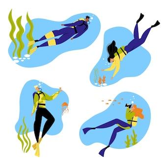 男性と女性のキャラクターの水中での楽しいアクティビティのシュノーケリング