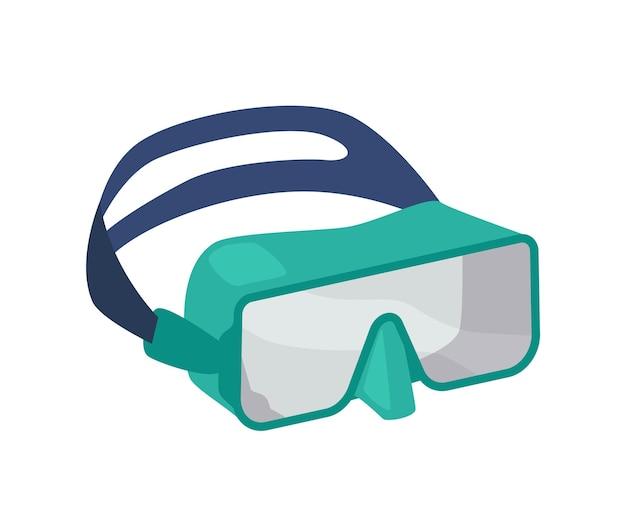 스노클링 마스크 아이콘, 스쿠버 다이빙 장비 현대적인 디자인. 흰색 배경에 고립 된 바다, 바다 또는 수영장에서 수영을 위한 고무 홀더가 있는 수중 안경. 만화 벡터 일러스트 레이 션