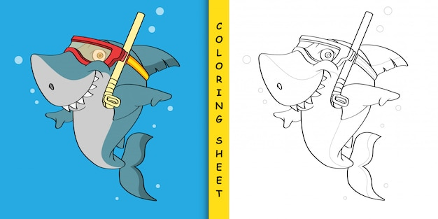 Snorkeling shark cartoon, coloring sheet