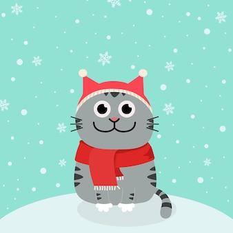 Снег и мультяшный кот в новогодних шапках