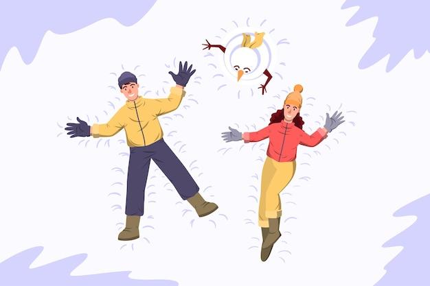 Snow angels -  winrter activity