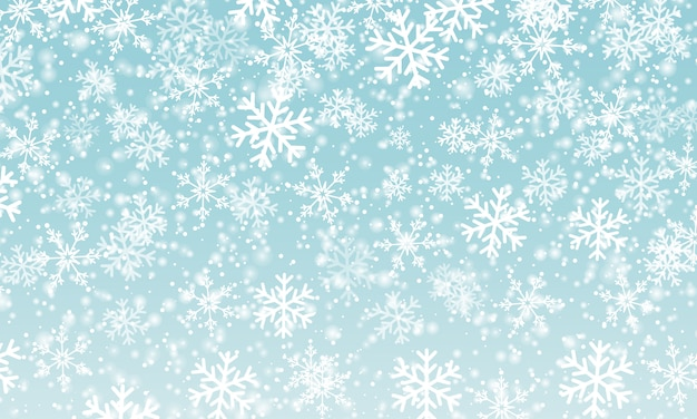 Snow background.  illustration. winter snowfall. white snowflakes on blue sky. christmas background. falling snow.