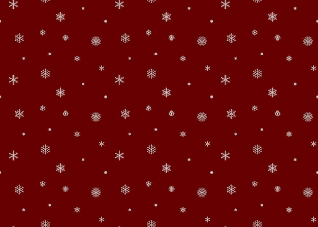 Snow background red color. snowflakes seamless pattern.
