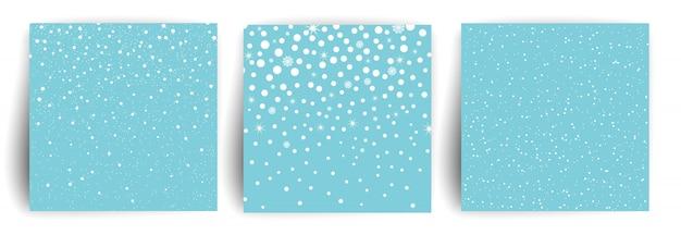 雪の背景。チラシ、バナー、招待状、お祝いのクリスマスグリーティングカードテンプレートのセット。雪のクリスマスの背景。図。