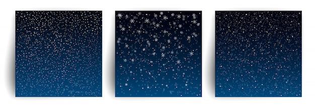 Снежный фон. набор шаблонов рождественских поздравительных открыток для флаера, баннера, приглашения, поздравления. новогодний фон со снежинками.