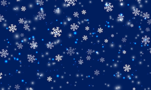 Snow background. winter snowfall. white snowflakes on blue sky. christmas background. falling snow.