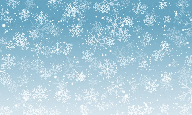 눈 배경입니다. 겨울 강설량입니다. 푸른 하늘에 하얀 눈송이입니다. 크리스마스 배경입니다. 떨어지는 눈.