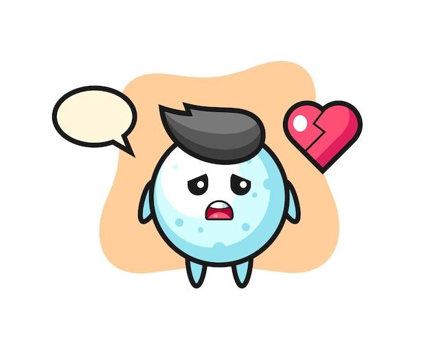 Иллюстрация шаржа снежного шара - разбитое сердце, милый стиль дизайна для футболки, стикер, элемент логотипа