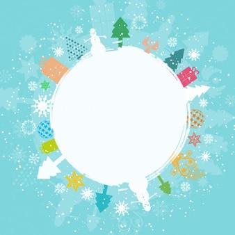 Palla di neve e regali colorati su sfondo blu