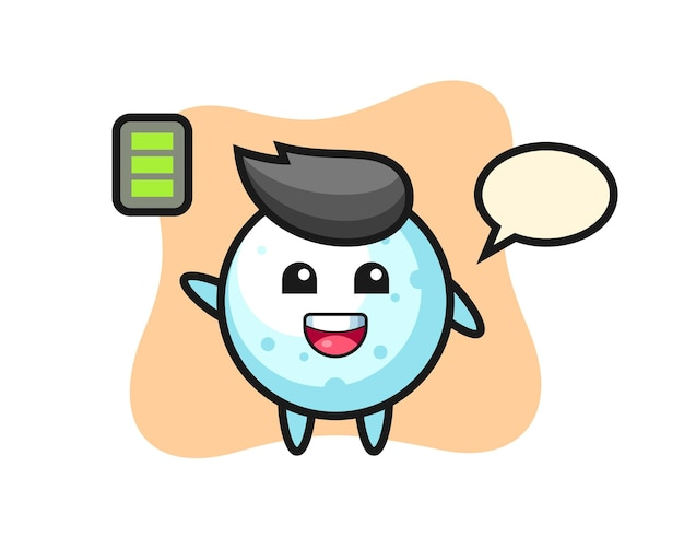Snow ball mascot character with energetic gesture, cute style design for t shirt, sticker, logo element